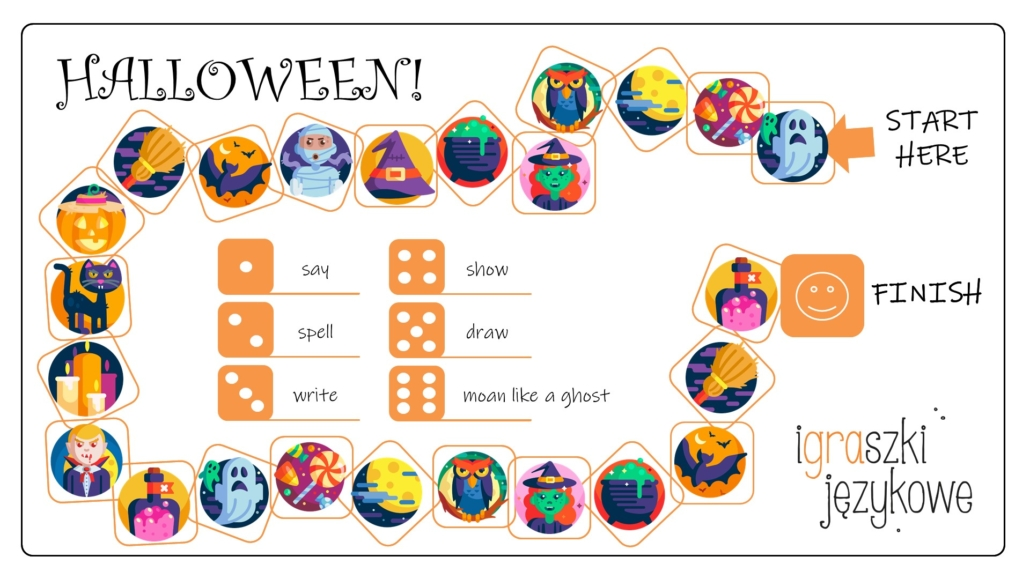 Halloween worksheets gra planszowa